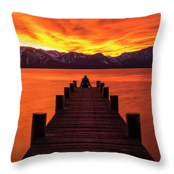 Lake Tahoe Sunset Pier By Brad Scott Throw Pillow
