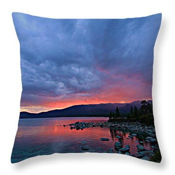 Lake Tahoe Sunset Portrait 2 Throw Pillow