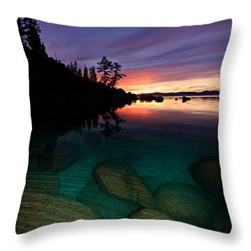 Lake Tahoe Sunset Portrait Throw Pillow