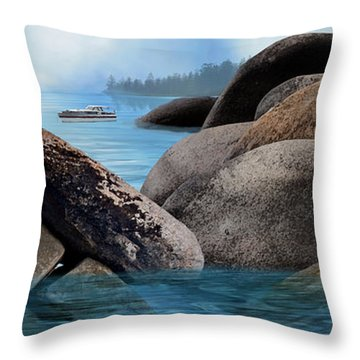 Lake Tahoe With Wooden Boat Throw Pillow by Julie Rodriguez Jones