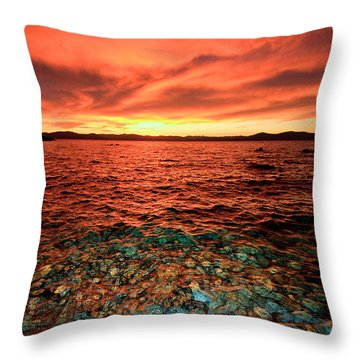 Lake Tahoe...blood Moon Sunset Throw Pillow