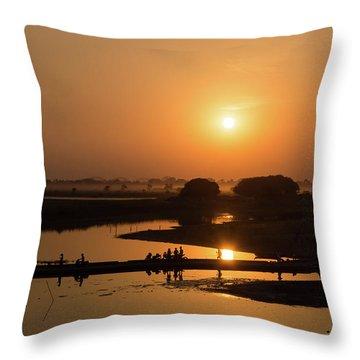 Lake Taungthaman Throw Pillow
