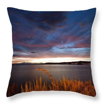 Lake Taupo Sunset Throw Pillow by Marc Garrido