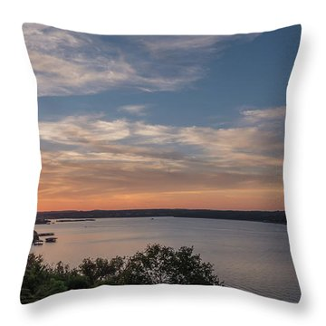 Lake Travis During Sunset With Clouds In The Sky Throw Pillow