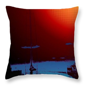 Lake Union Moorage Throw Pillow by Tim Allen