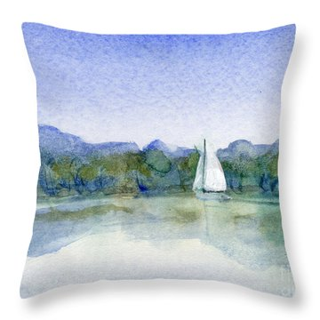 Lake Union Spring Sailing Throw Pillow by Randy Sprout