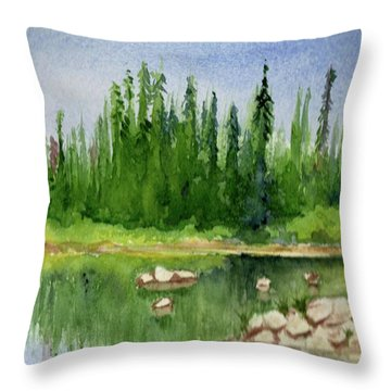 Throw Pillow featuring the painting Lake View 1-2 by Yoshiko Mishina