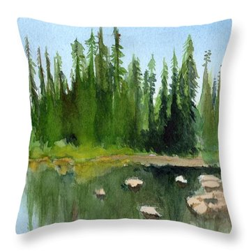 Throw Pillow featuring the painting Lake View 1 by Yoshiko Mishina