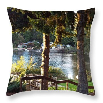 Beverly Lake View In Fall Throw Pillow by Judyann Matthews