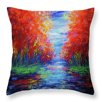 Olena Art Lake View Abstract Artwork Throw Pillow