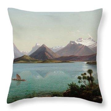 Lake Wakatipu With Mount Earnslaw. Middle Island New Zealand Throw Pillow