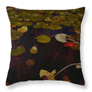 Throw Pillow featuring the painting Lake Washington Lilypad 7 by Thu Nguyen