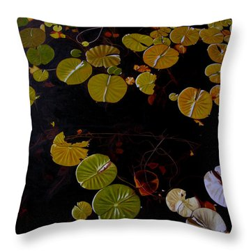 Throw Pillow featuring the painting Lake Washington Lilypad 8 by Thu Nguyen