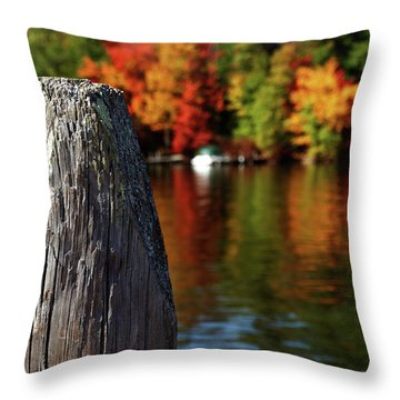 Lake Winnepesaukee Dock With Foliage In The Distance Throw Pillow
