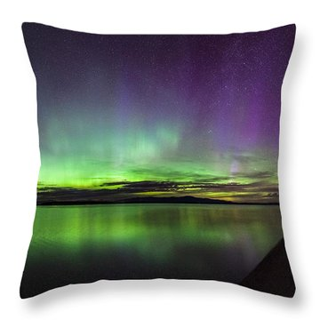 Throw Pillow featuring the photograph Lake Winnipesaukee Aurora by Robert Clifford