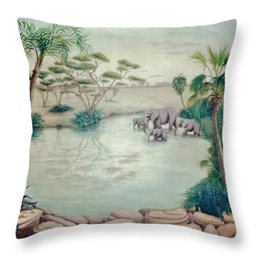Lake With Oasis And Palm Trees Throw Pillow