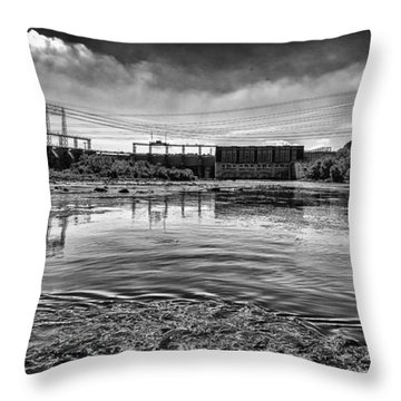Lake Wylie Hydro-electric Dam Bw Throw Pillow