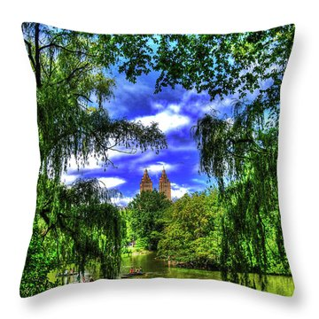Lakeboat In Central Park Too Throw Pillow by Randy Aveille