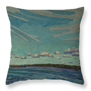 Laker Headed Downstream Throw Pillow by Phil Chadwick
