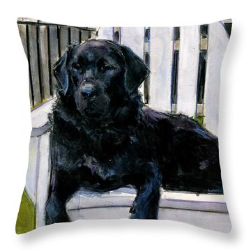 Throw Pillow featuring the painting Lakerfront by Molly Poole