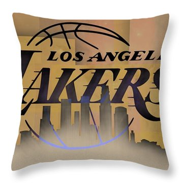 Lakers Skyline Throw Pillow