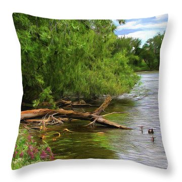 Lakeside Blossoms Throw Pillow