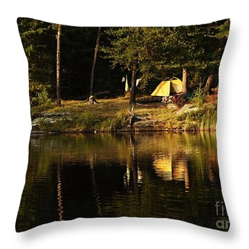 Throw Pillow featuring the photograph Lakeside Campsite by Larry Ricker