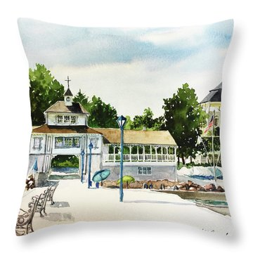 Lakeside Dock And Pavilion Throw Pillow