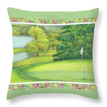 Lakeside Golfing Illustration Throw Pillow