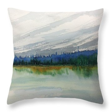 Lakeside - Mountain Foothill  - Banff Throw Pillow