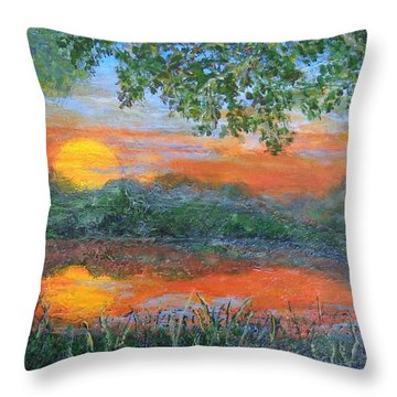 Lakeside Sunset Throw Pillow by Annie St Martin