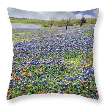 Throw Pillow featuring the photograph Lakeside Texas Bluebonnets by David and Carol Kelly