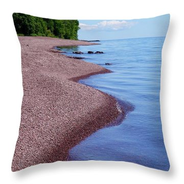 Lakewalk On The Superior Hiking Trail Throw Pillow by Sandra Updyke