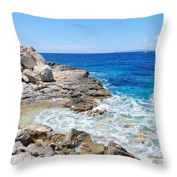 Lakka Coastline On Paxos Throw Pillow