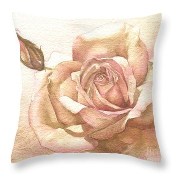 Throw Pillow featuring the painting Lalique Rose by Sandra Phryce-Jones