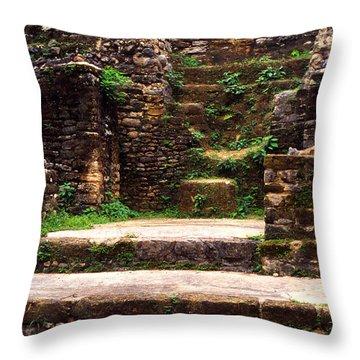 Lamanai Temple Throw Pillow by Thomas R Fletcher