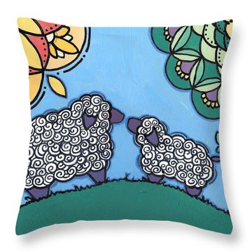 Throw Pillow featuring the painting Lamb And Mama Sheep by Caroline Sainis