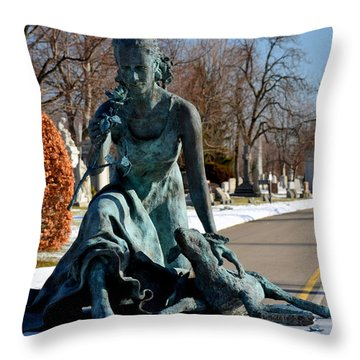 lamb and Rose Throw Pillow