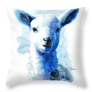 Lamb In Blue Throw Pillow