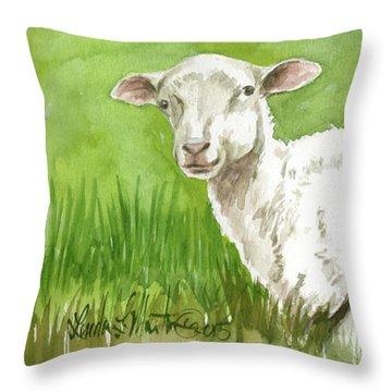 Lamb In Spring Throw Pillow