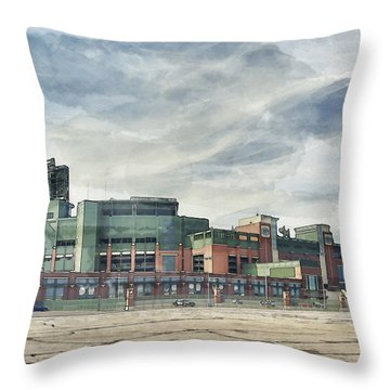 Throw Pillow featuring the photograph Lambeau Field Painterly Edition by Joel Witmeyer