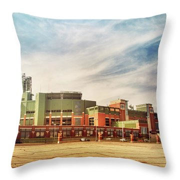 Throw Pillow featuring the photograph Lambeau Field Retro Feel by Joel Witmeyer