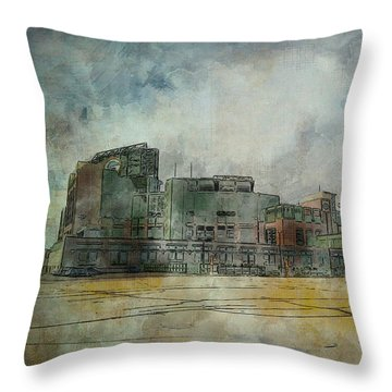 Throw Pillow featuring the photograph Lambeau Field Watercolor by Joel Witmeyer