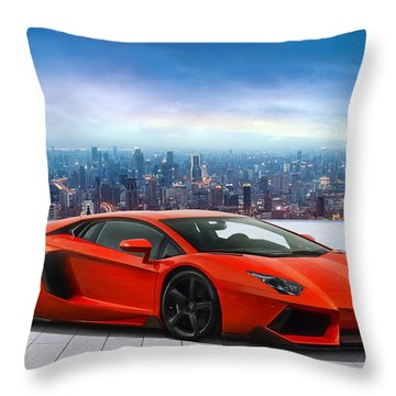Lambo Cityscape Throw Pillow by Peter Chilelli
