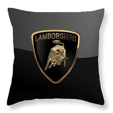 Lamborghini - 3d Badge On Black Throw Pillow
