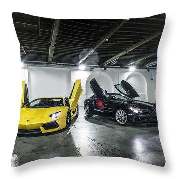 Lamborghini Aventador And Mercedes Slr Throw Pillow