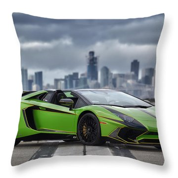 #lamborghini #aventadorsv #superveloce #roadster #print Throw Pillow