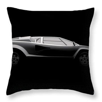 Lamborghini Countach 5000 Qv 25th Anniversary - Side View Throw Pillow