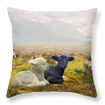 Lambs On A Hillside Throw Pillow