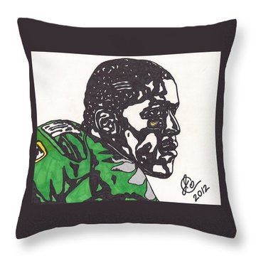 Throw Pillow featuring the drawing Lamicheal James 2 by Jeremiah Colley
